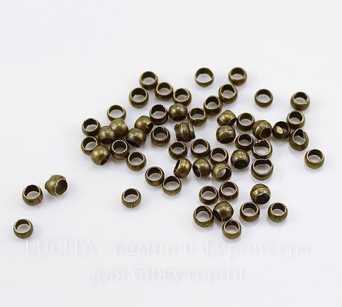 Кримпы - зажимные бусины 2х1,7мм (цвет - античная бронза) 2 гр (около 90 штук)