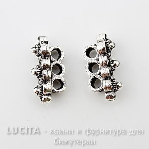 "Разделитель на 3 нити Quest Beads ""Три цветка"" (цвет-античное серебро) 19х10х6 мм"