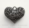 """Подвеска """"Сердце в цветах"""" 3D (цвет - античное серебро темное) 43х35х17 мм"""