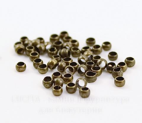 Кримпы - зажимные бусины 2х1,7 мм (цвет - античная бронза) 2 гр (около 90 штук)