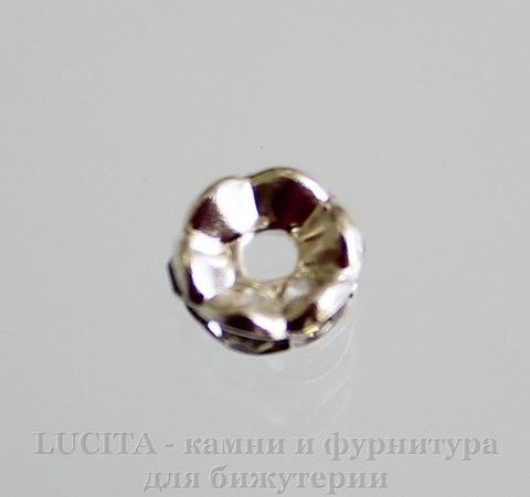Бусина - рондель с прозрачными фианитами (цвет - серебро) 6х3 мм, 5 штук