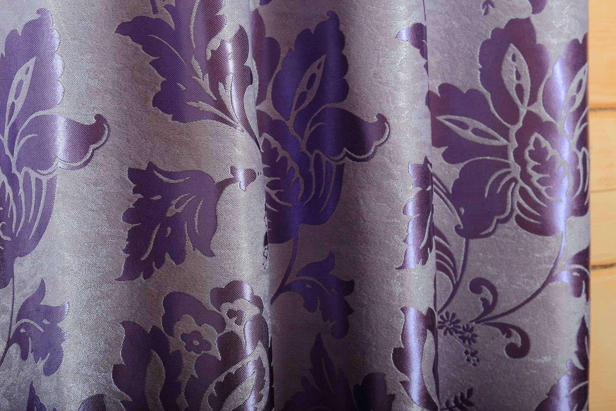 Марселла (фиолетовый). Шторы блэкаут шенил с растительным орнаментом из атласа.