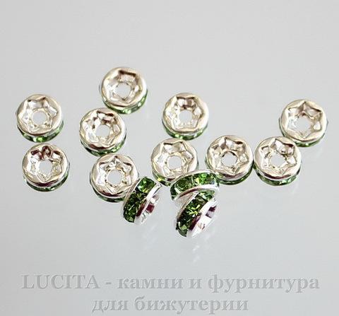Бусина - рондель 6х3 мм с зелеными фианитами (цвет - серебро), 5 штук