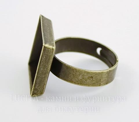 Основа для кольца с квадратным сеттингом 15,5 мм (цвет - античная бронза)
