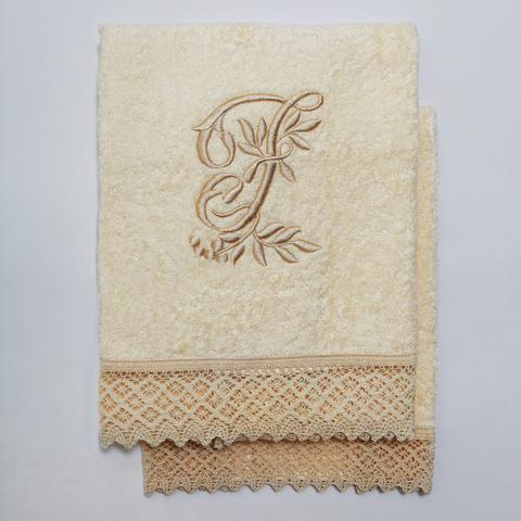 Набор полотенец 2 шт Old Florence Rombetti с вышивкой инициалов F бежевый