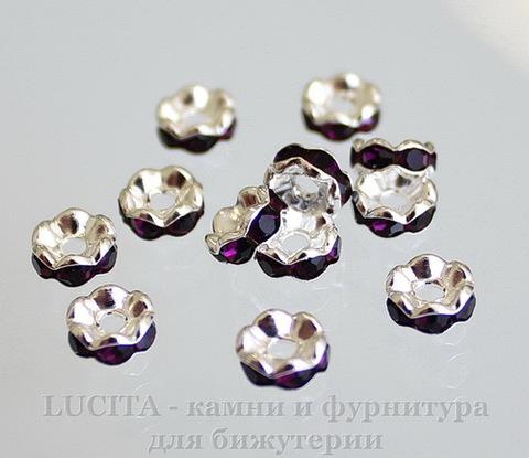 Бусина - рондель 6х3 мм с фиолетовыми фианитами (цвет - серебро), 5 штук