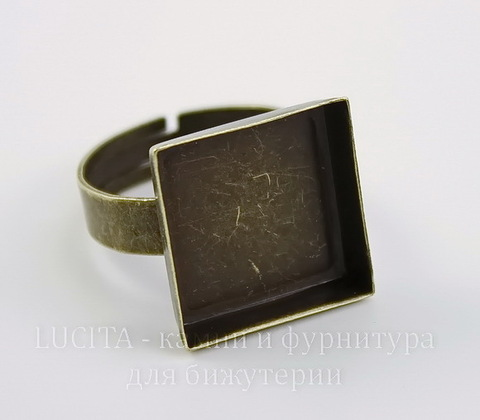 Основа для кольца с квадратным сеттингом 15,5 мм (цвет - античная бронза) ()