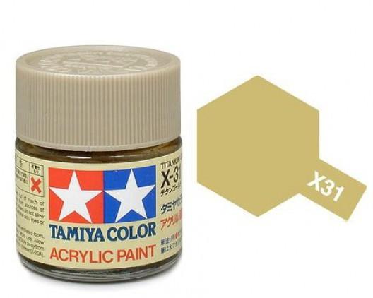 X-31 Краска Tamiya, Золотой Титан (Titanium Gold), акрил 10мл