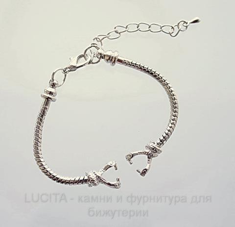 """Основа для браслета / часов """"Пандора"""" (цвет - античное серебро) 14 см"""