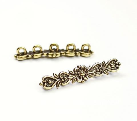 """Разделитель на 5 нитей Quest Beads """"Цветок"""" (цвет-античное золото) 33х7х5 мм"""