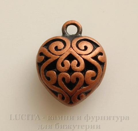 """Подвеска """"Ажурное сердце"""" (цвет - античная медь) 16х13 мм"""