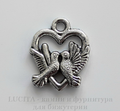 """Подвеска """"Влюбленные птицы"""" (цвет - античное серебро) 19х15 мм"""