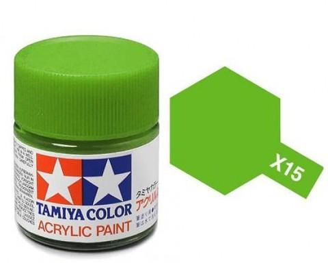 X-15 Краска Tamiya, Светло-зеленый Глянцевый (Light Green), акрил 10мл