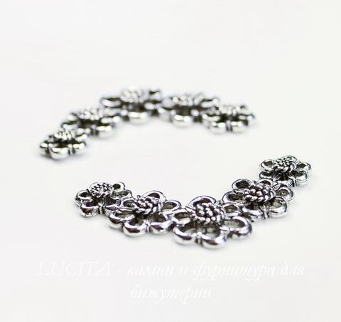 """Коннектор Quest Beads """"Цветы"""" 35х20 мм (цвет-античное серебро)"""