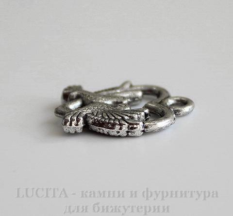 """Подвеска """"Влюбленные птицы"""" 19х15 мм (цвет - античное серебро)"""