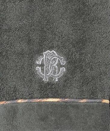 Элитный халат махровый Basic с капюшоном темно-серый от Roberto Cavalli