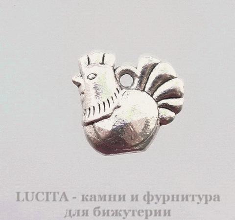 "Подвеска ""Курочка"" (цвет - античное серебро) 13х12 мм"