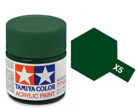 X-5 Краска Tamiya, Зеленый Глянцевый (Green), акрил 10мл