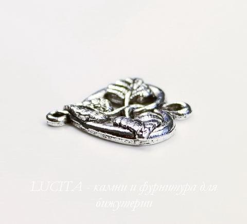 "Подвеска Quest Beads ""Плющ"" (цвет-античное серебро) 20х19 мм"