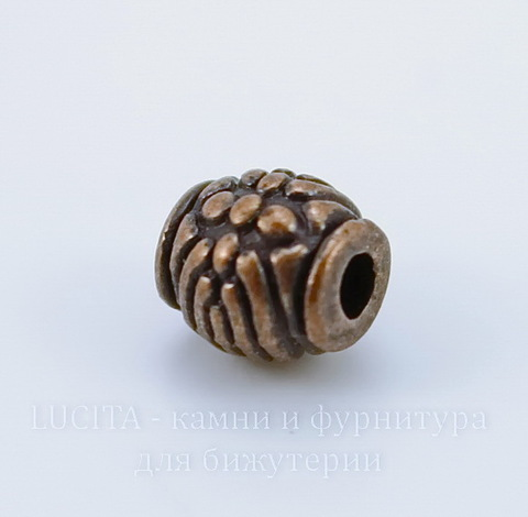 Бусина металлическая (цвет - античная медь) 6х6 мм, 10 штук