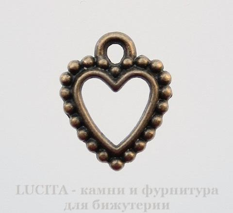 "Подвеска ""Сердечко"" (цвет - античная бронза) 18х14 мм"