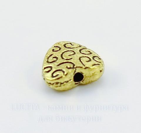"""Бусина металлическая """"Сердечко в завитках"""" (цвет - античное золото) 9х9 мм, 10 штук"""