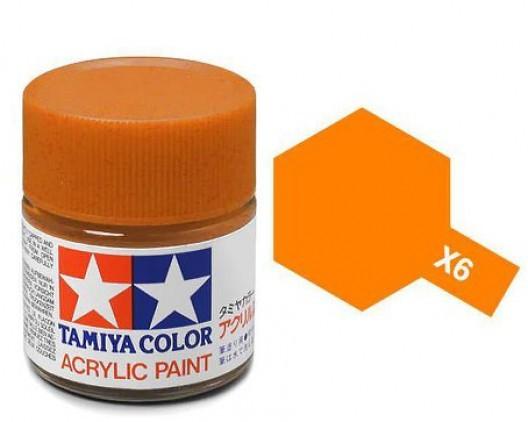 X-6 Краска Tamiya, Оранжевый Глянцевый (Orange), акрил 10мл