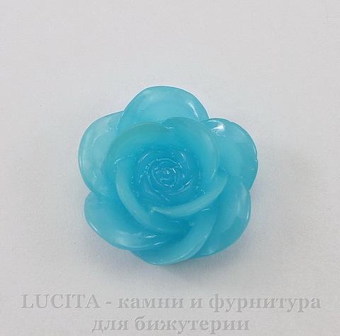 """Кабошон акриловый """"Камелия"""", цвет - небесно-голубой, 20 мм"""
