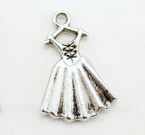 """Подвеска """"Платье"""" 20х13 мм (цвет - античное серебро)"""