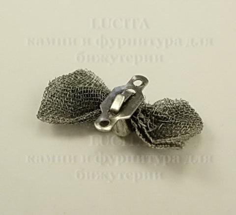 "Коннектор ""Бантик"" (1-1) 18х9 мм (цвет - античное серебро) ()"