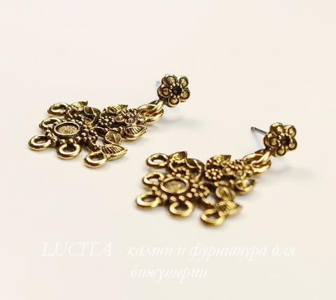 """Пуссеты - гвоздики с подвеской Quest Beads """"Цветы"""" 32х22 мм (цвет-античное золото)(без заглушек), пара"""