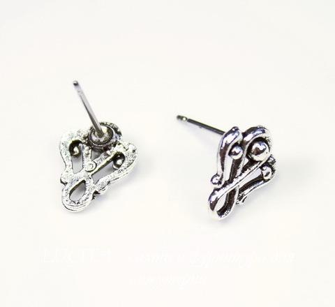 "Пуссеты - гвоздики Quest Beads ""Завитушка"" 11х9 мм (цвет-античное серебро)(без заглушек), пара ()"