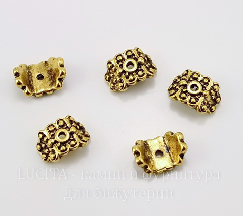"""Шапочка для бусины """"Старинная"""" для плоской бусины/кулона (цвет - античное золото) 10х8 мм, 10 штук"""