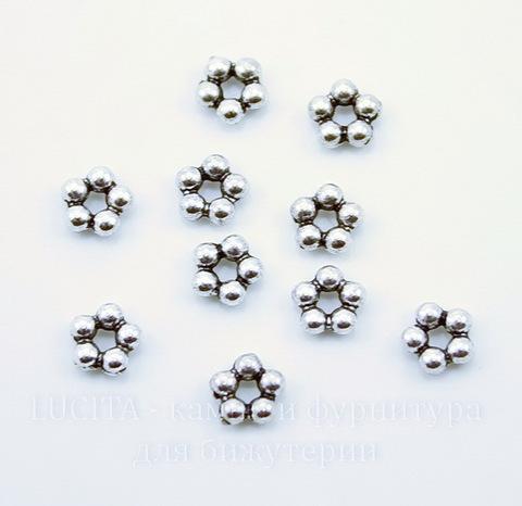 """Бусина металлическая - спейсер """"Цветочек"""" (цвет - античное серебро) 5х2 мм, 10 штук"""