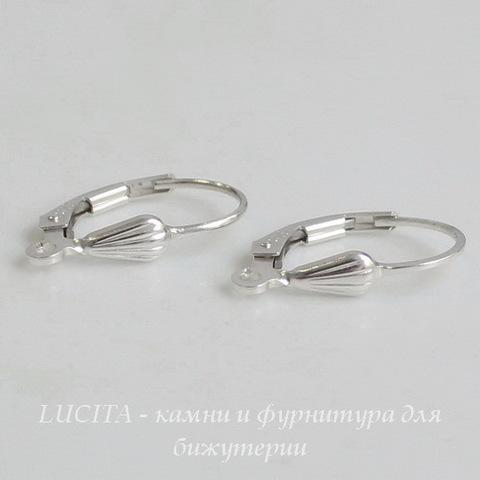 "Швензы с французским замком ""Ракушка"", 17х10 мм (цвет - серебро), Silver filled, пара ()"