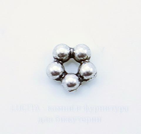 """Бусина металлическая - спейсер """"Цветочек"""" (цвет - античное серебро) 5х2 мм, 10 штук ()"""