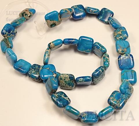 Бусина Яшма Императорская (прессов), квадратная плоская, цвет - голубой, 12х12 мм, нить