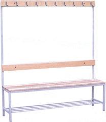 Вешалки для раздевалок со скамьей и крючками (односторонние) 2 метра