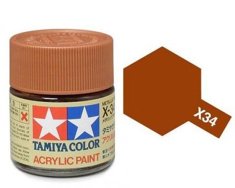 X-34 Краска Tamiya, Коричневый Металлик (Metallic Brown), акрил 10мл