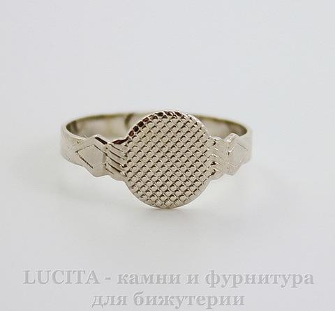 Винтажная основа для кольца с площадкой для кабошона 10 мм (оксид серебра)