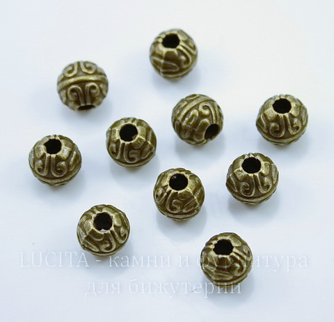 """Бусина металлическая шарик """"Узоры"""" (цвет - античная бронза) 7 мм, 10 штук"""