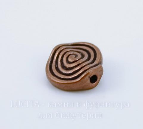 """Бусина металлическая """"Спираль"""" (цвет - античная медь) 12х11 мм"""