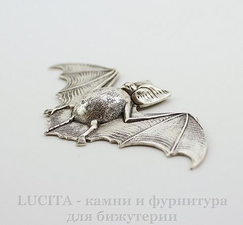 """Винтажный декоративный элемент - штамп """"Летучая мышь"""" 70х35 мм (оксид серебра)"""