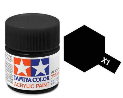 X-1 Краска Tamiya, Черный Глянцевый (Black), акрил 10мл