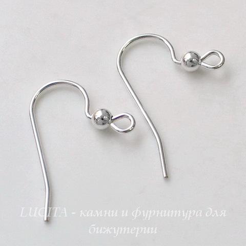 Швензы - крючки с шариком, 21х15 мм (цвет - серебро), Silver filled, пара ()