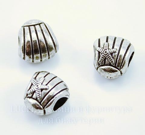 "Бусина металлическая ""Ракушка"" (цвет - античное серебро) 13х12х9 мм"
