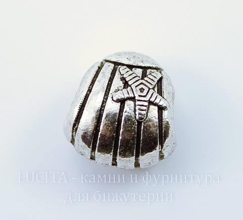"""Бусина металлическая для пандоры """"Ракушка"""" 13х12х9 мм (цвет - античное серебро)"""