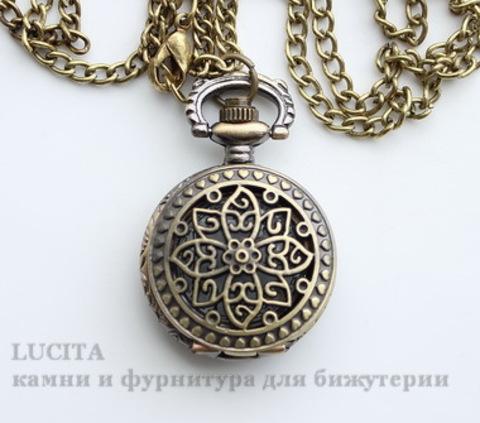 Часы на цепочке с филигранным цветком (цвет - античная бронза) 40х27 мм