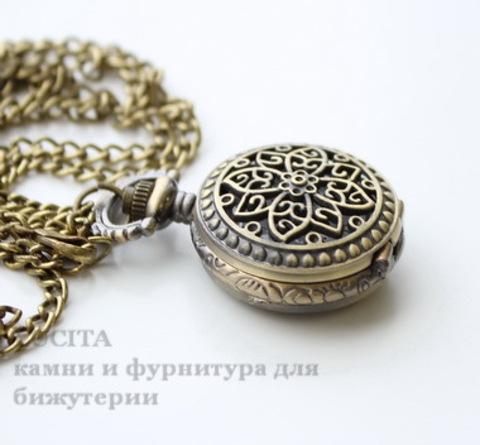 Часы на цепочке с филигранным цветком (цвет - античная бронза) 40х27 мм ()