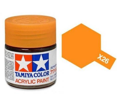 X-26 Краска Tamiya, Прозрачный Оранжевый (Clear Orange), акрил 10мл